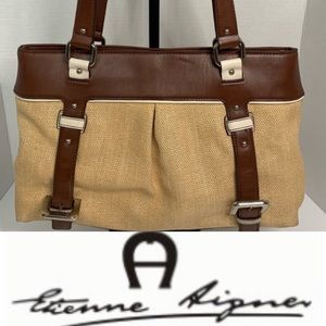 Etienne Aigner Straw & Leather Summer Bag